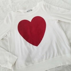 Wildfox Small Red Sparkle Heart Sweatshirt